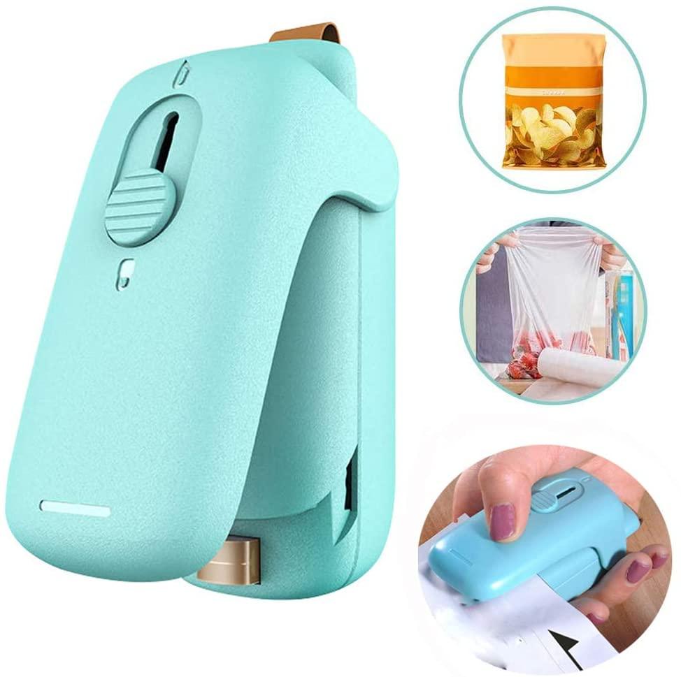 Bag Sealer, Mini Handheld Heat Vacuum Sealer, 2 in 1 Heat Plastic Sealer Bags & Cutter Portable Bag Resealer Machine Food Saver, Quick Seal for Plastic Bags Food Storage Snack Fresh Mini Bag Sealer