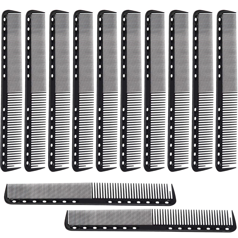 12 Pieces Carbon Fine Cutting Comb Carbon Fiber Salon Hairdressing Comb Hairdressing Comb Heat Resistant Barber Comb (Black)