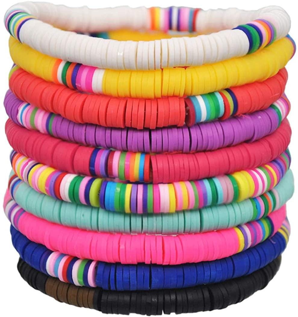 Jewdreamer 10PCS Friendship Bracelets Vsco Handmade Beads Bracelet Rainbow Heishi Stack Vinyl Disc Clay Bead Surfer Stretch Stackable Bracelet Summer Beach Bracelet Jewelry