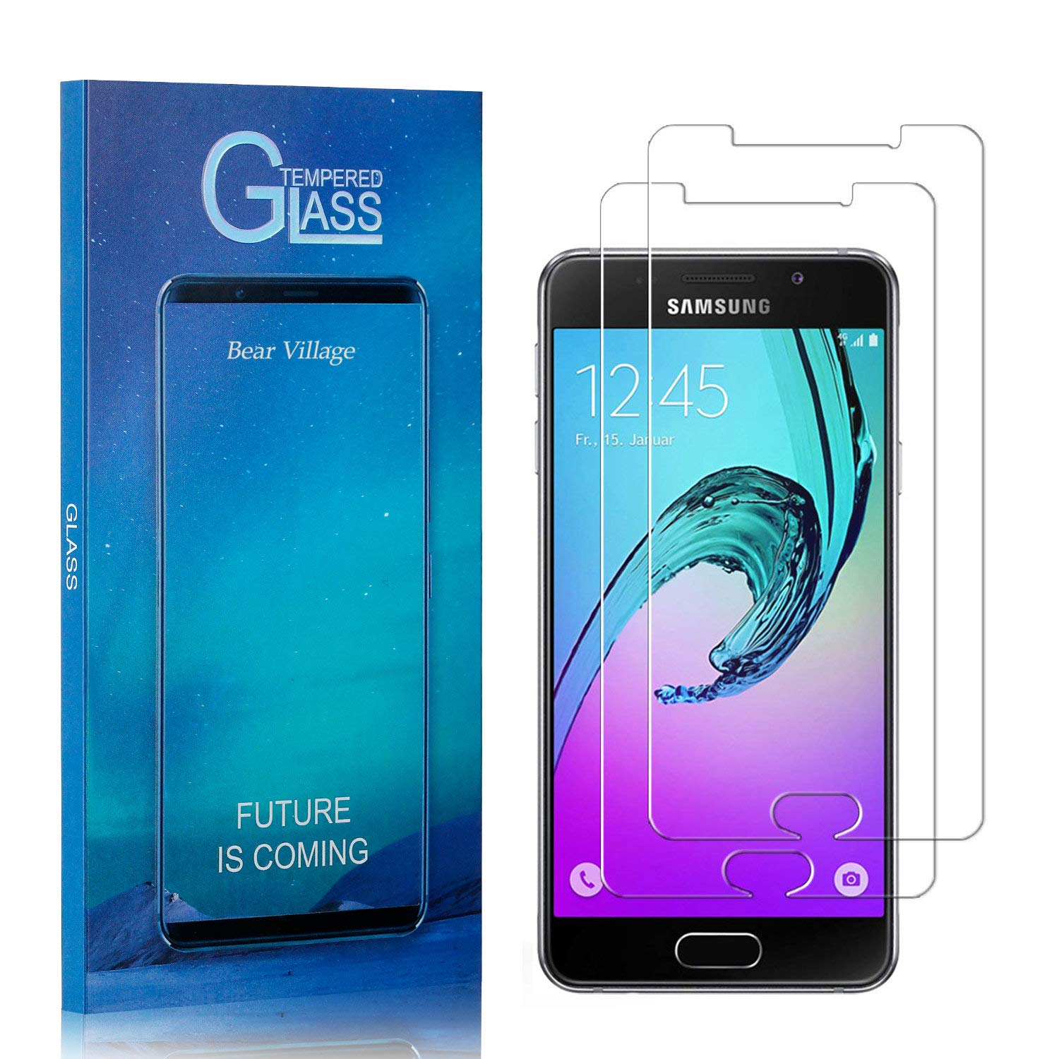 Screen Protector for Galaxy A5 2016, Bear Village 9H Hardness Tempered Glass Screen Protector, Ultra Clear Screen Protector Film for Samsung Galaxy A5 2016, 2 Pack