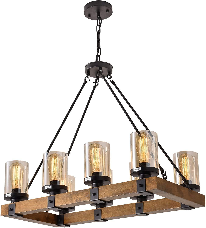 XIPUDA 8-Light Farmhouse Kitchen Island Light Fixture, Wood Chandeliers, Candle Pendant Light, Cognac Glass Lampshade Lodge Ceiling Lighting
