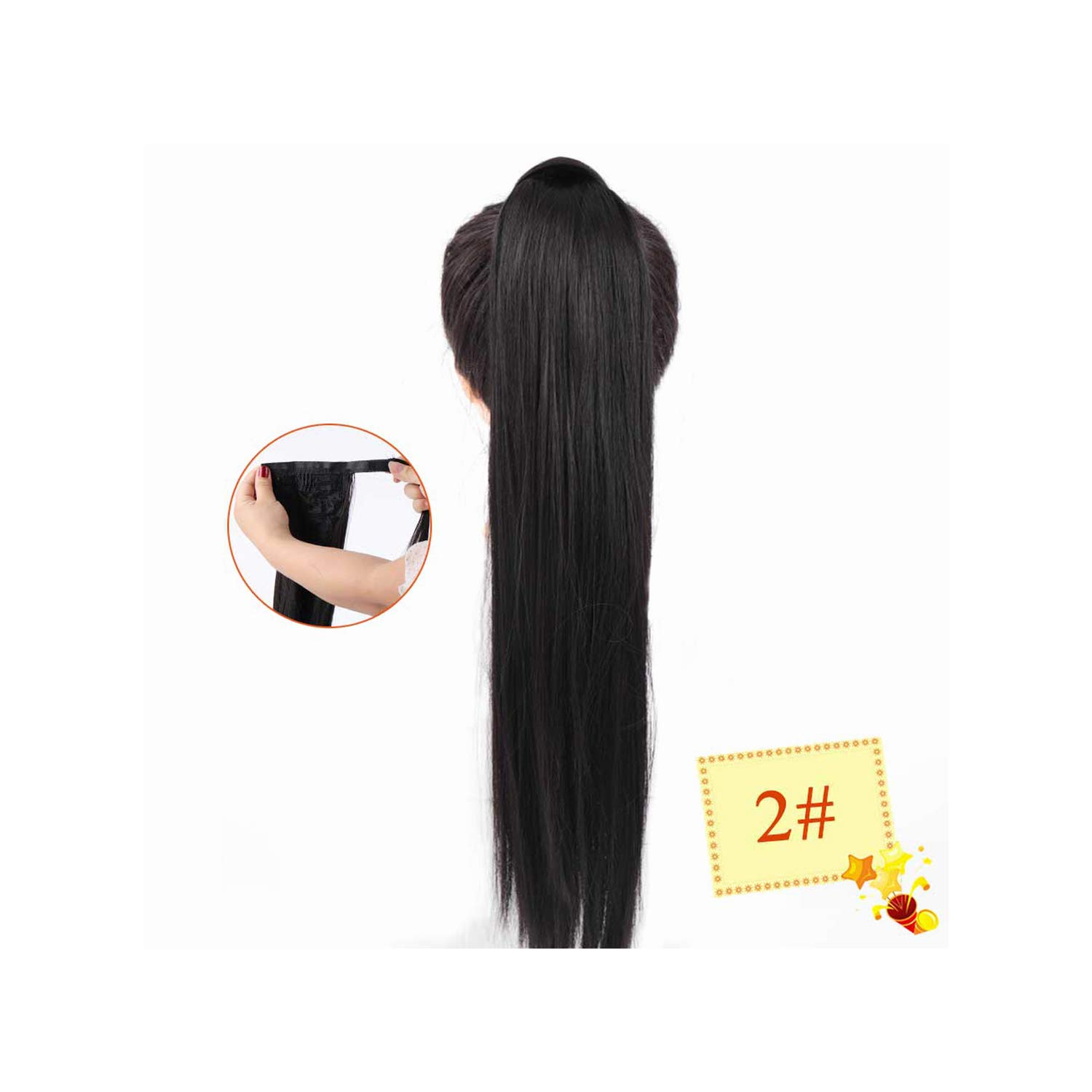 Wrap Synthetic Ponytail Hair Extension Long Straight Women'S Clip In Hair Extensions Pony Tail False Hair,2,22Inches