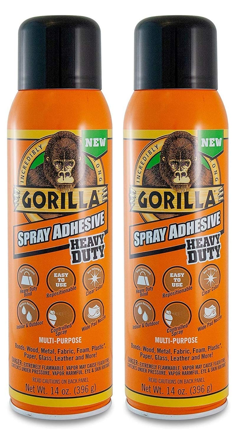 Gorilla Heavy Duty Spray Adhesive, Multipurpose and Repositionable, 14 Ounce, Clear, (Pack of 2)