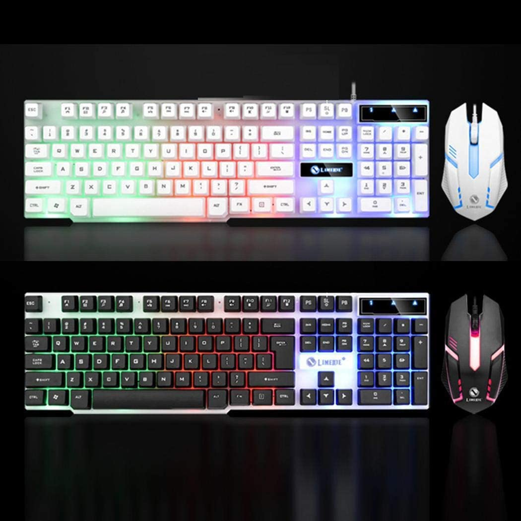 Vividy Gaming LED Backlight Mechanical for PC Wired USB Mouse Keyboard Kit Keyboard & Mouse Combos