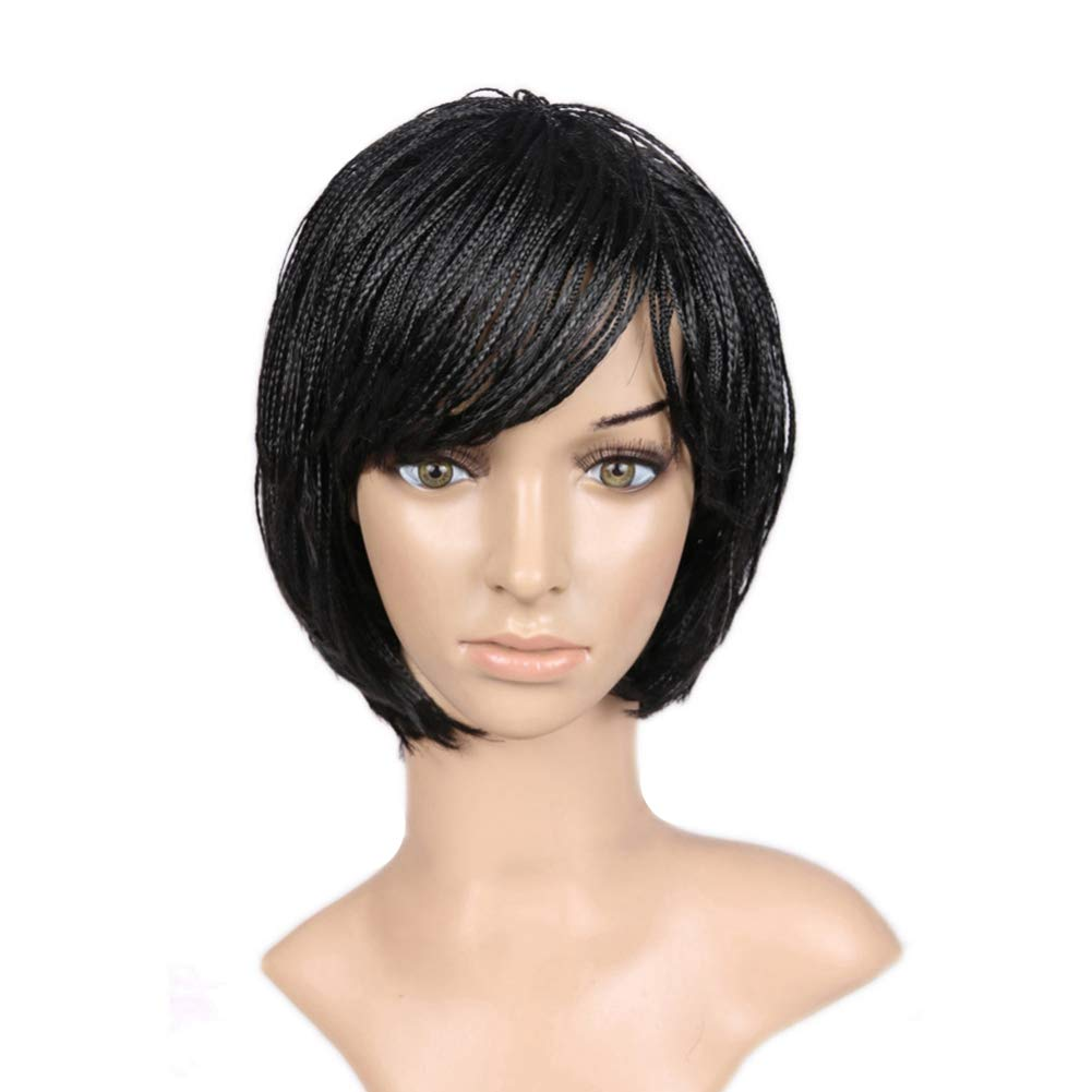 SAJANDAS Short Braided Bob Wigs for African American Women, Short Box Braid Wigs with Adjustable Stripes, Small Bob Braided Synthetic Wigs (10 Inch, 1B)