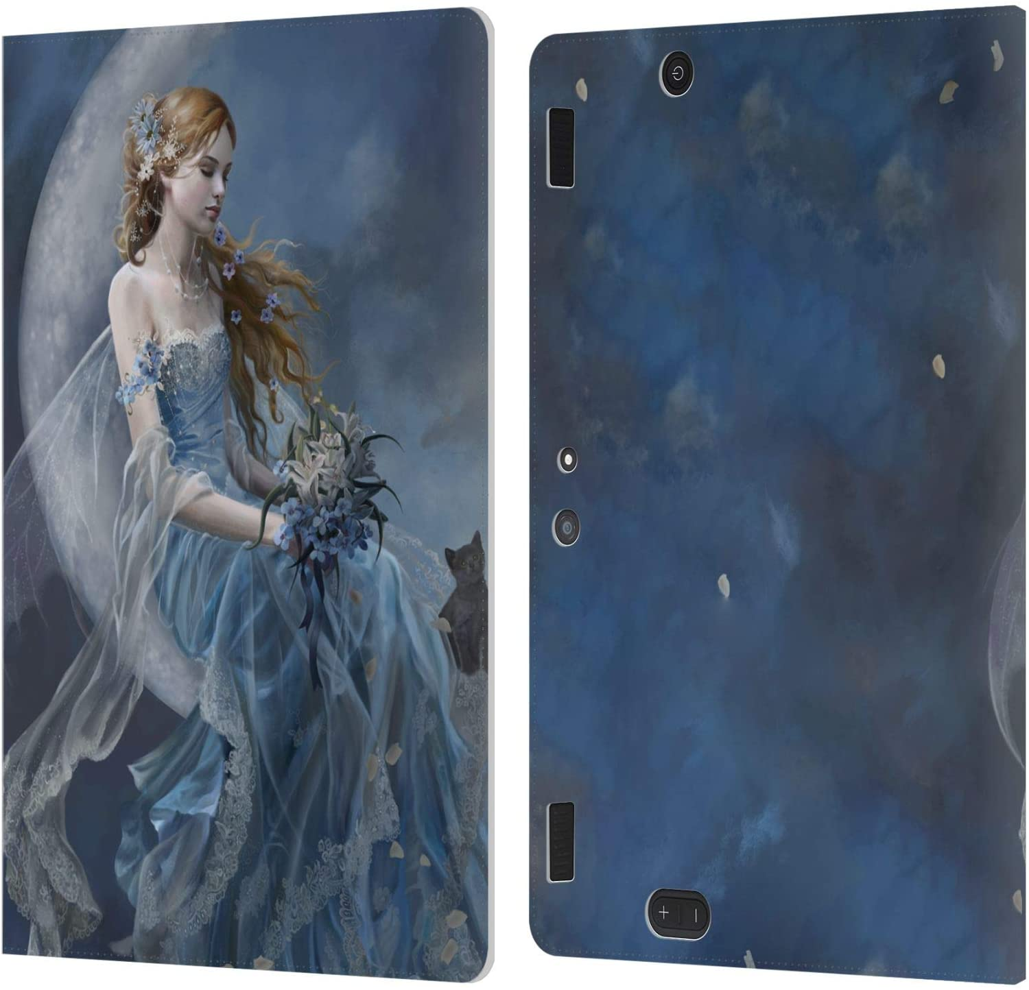Head Case Designs Officially Licensed Nene Thomas Blue Fairy On Moon Kitten Crescents Leather Book Wallet Case Cover Compatible with DHgate Kindle Fire HDX 8.9