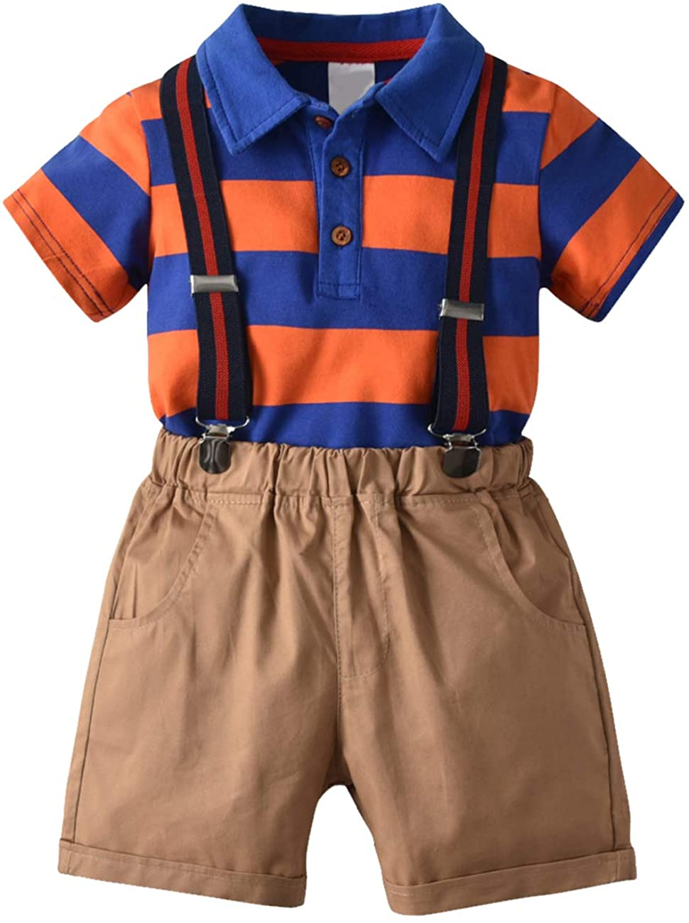 KISBINI Boys' Three Pieces Summer Clothes Set Polo Tops Shorts and Suspenders