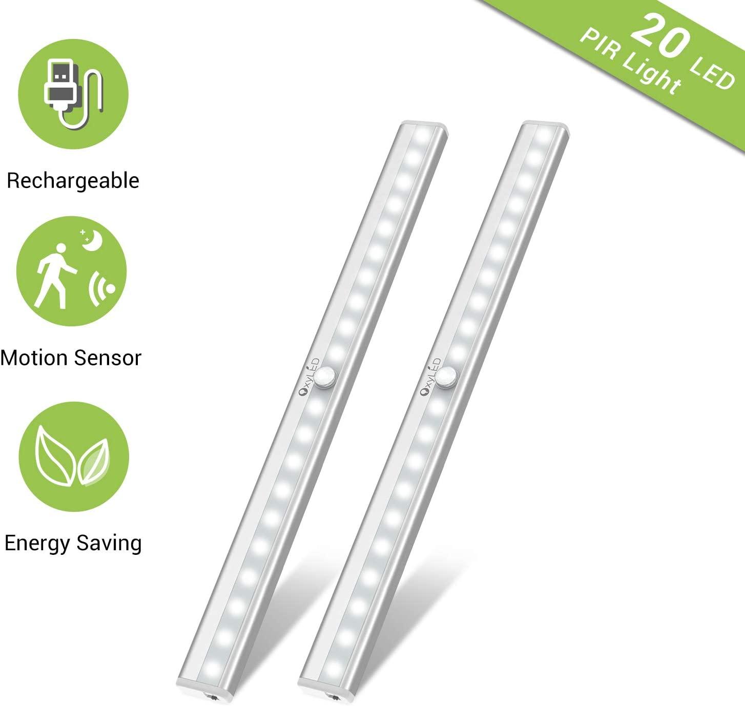 Under Cabinet Lighting, Motion Sensor Closet Lights OxyLED 20 LED USB Rechargeable Under Cabinet Lights Wireless Under Counter Lighting, Motion Led Light Bar for Closet, Cabinet (T-02S, 2 Pack)