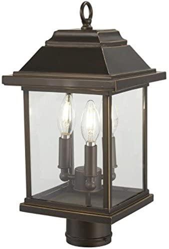 Minka Lavery Outdoor Post Lights 72636-143C Mariner's Pointe Exterior Post Lantern, 3-Light 180 Watts, Oil Rubbed Bronze