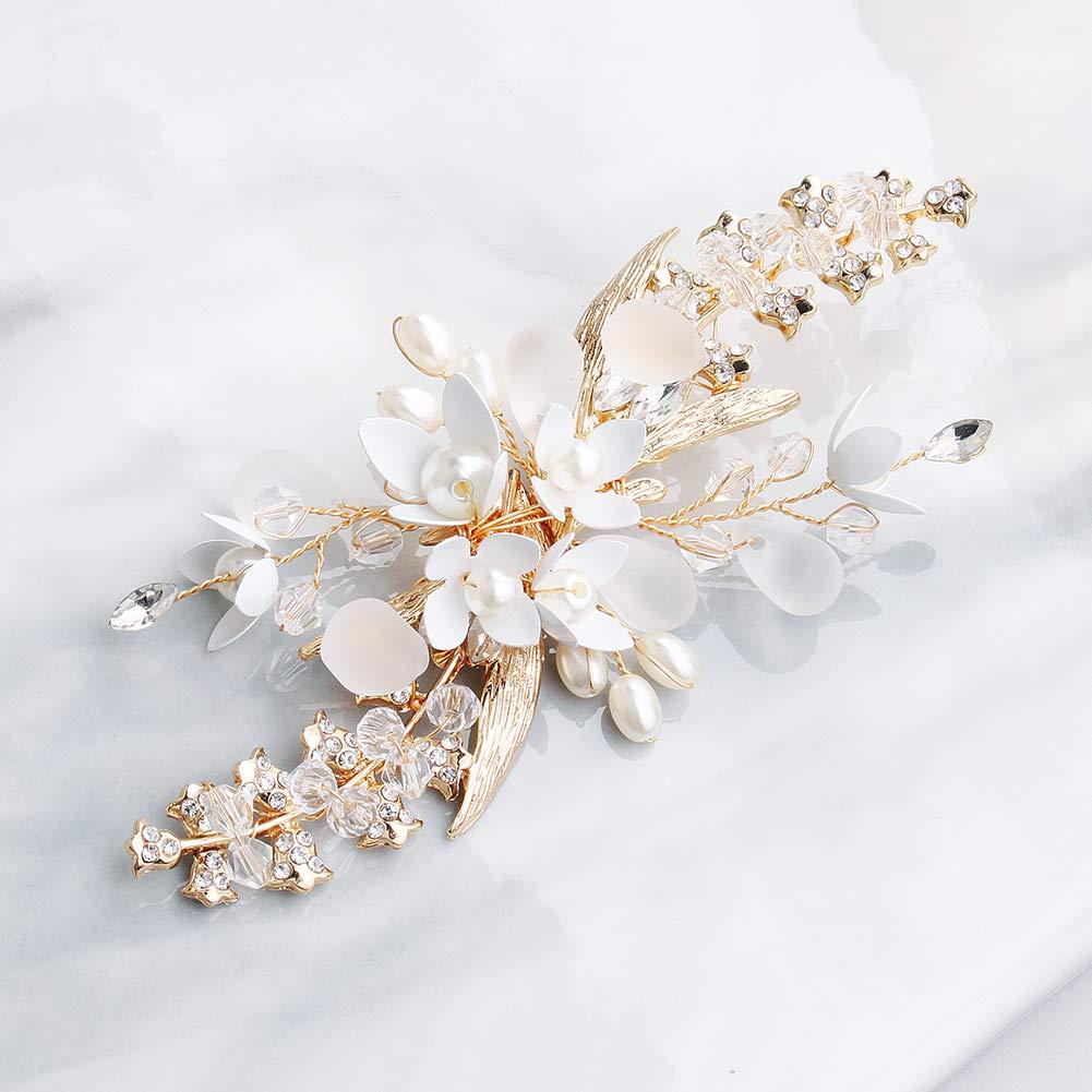 FIDDY898 Rhinestone Bridal Hair Clips alloy Clips Handmade Floral Hair Clips Gold Wedding Crystal Headpieces for Women