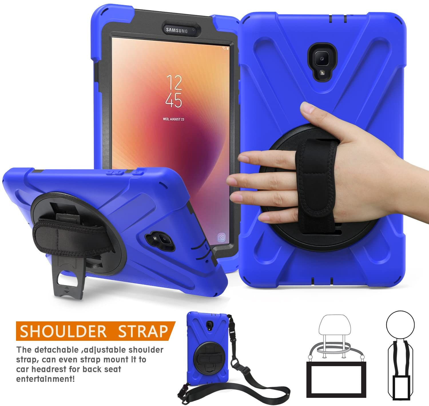 BRAECNstock Galaxy Tab A 8.0 2017 Case Three Layer Heavy Duty Soft Silicone Hard Bumper Case Shockproof Scratch Resistant Full-Body Protective Case for Tab a 8.0
