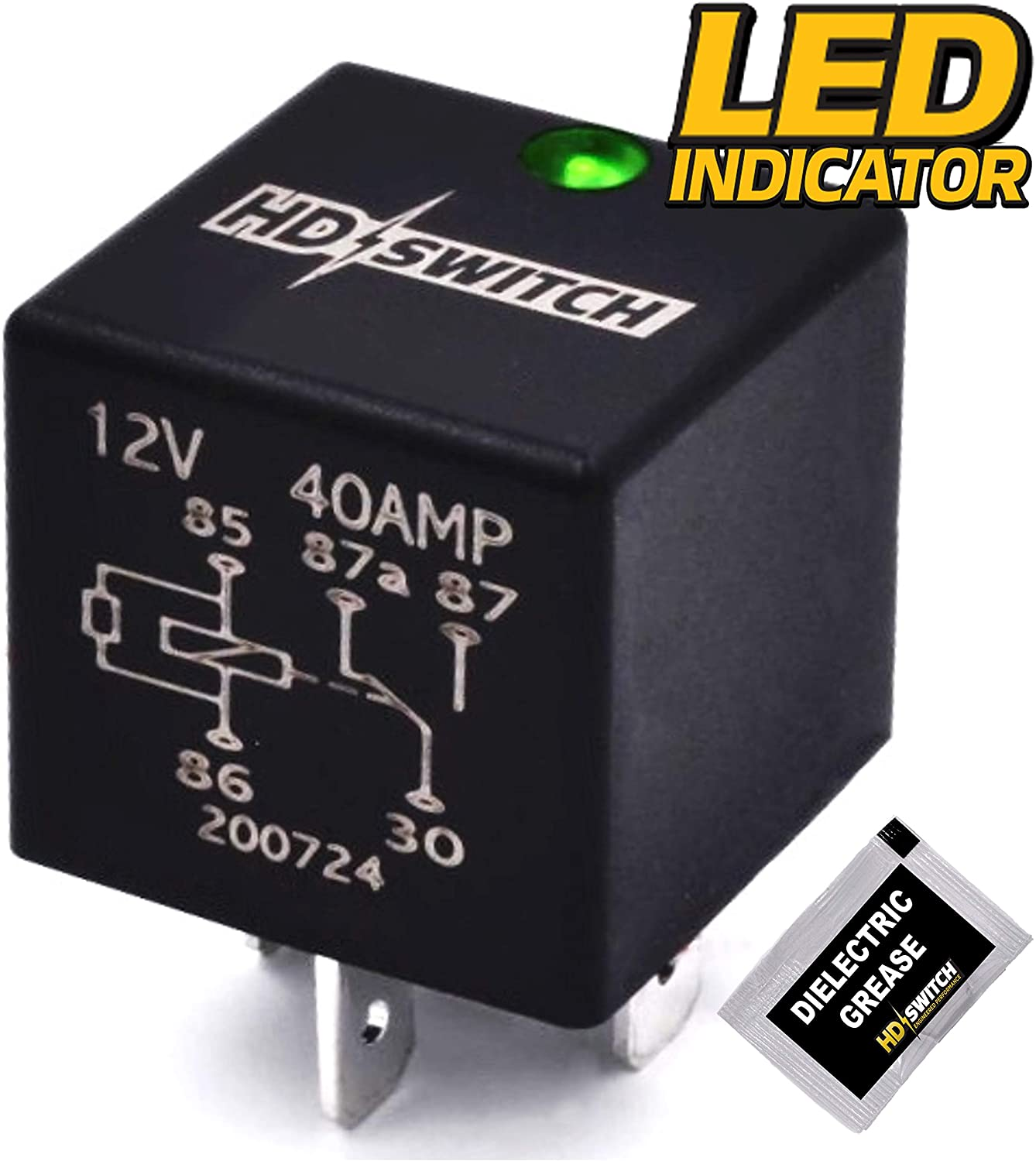 HD Switch 12V 40A Waterproof Relay Replaces John Deere 6135E 6403 6603 7200 7200R 7210 7400 7405 7410 7500 7505 7510 7600 7610 7630 7700 7710 7720 7730 7800 7810 w/LED & Dielectric Grease