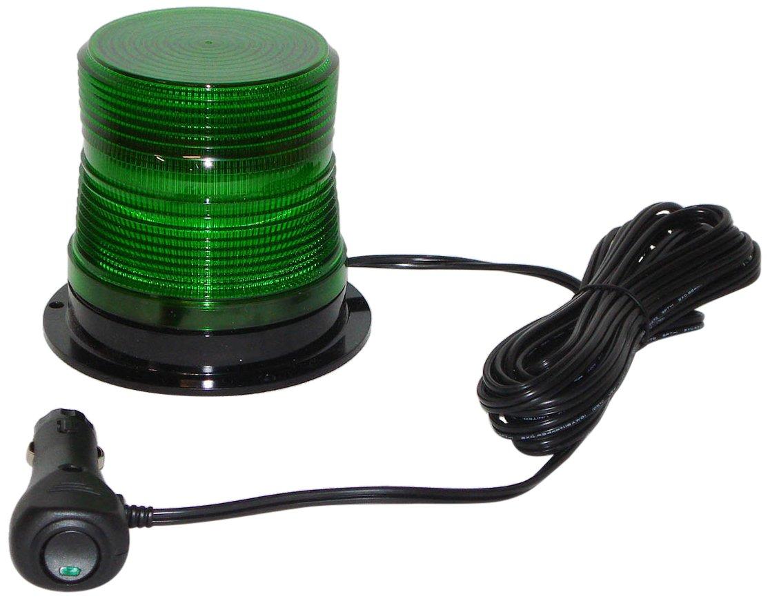 North American Signal LEDQ375MX-G High-Intensity Quad Flash LED Beacon, Magnetic Mount, Green