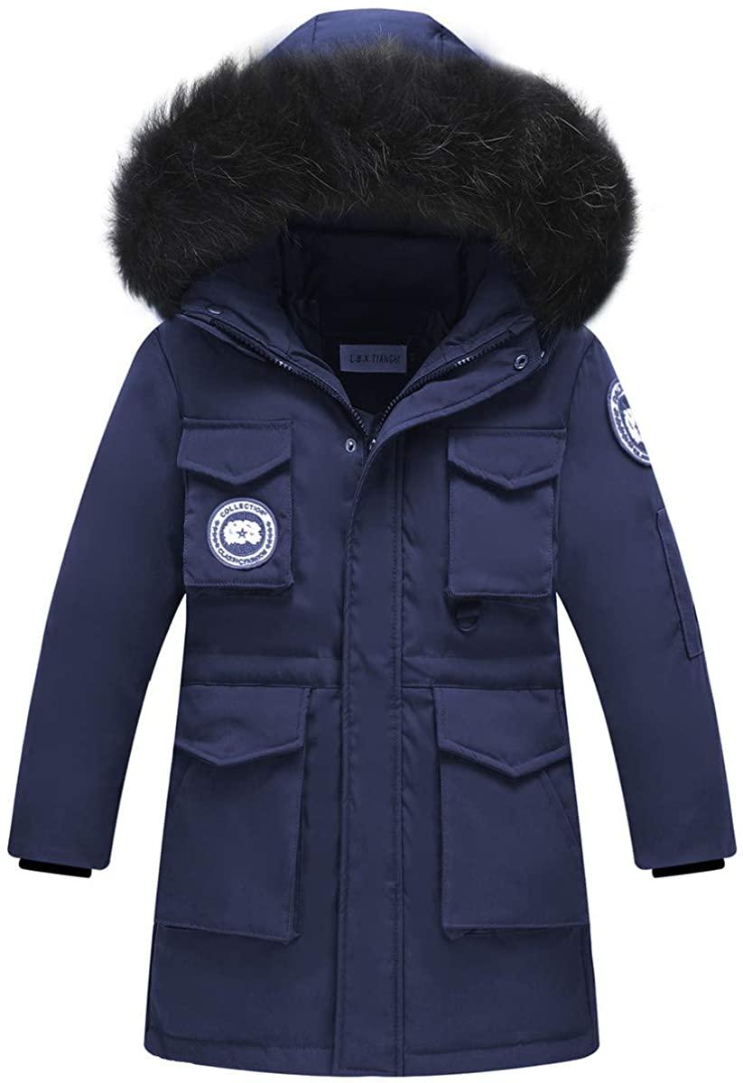 REWANGOING Big Boys Winter Warm Fur Trim Hooded Pocket Zipper Middle Long Puffer Down Jacket Snowsuit Coat Outwear