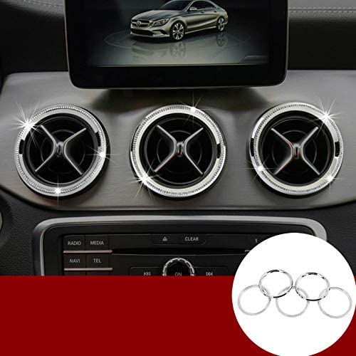 Wroadavee Rhinestone Style Console Air Vent Outlet Cover Ring 5pcs for Mercedes-Benz CLA C117 W117 2013-2019