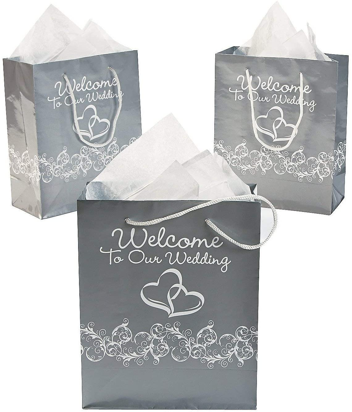 """Two Hearts """"Welcome To Our Wedding"""" Gift Bags (12 Pack) (Silver)"""