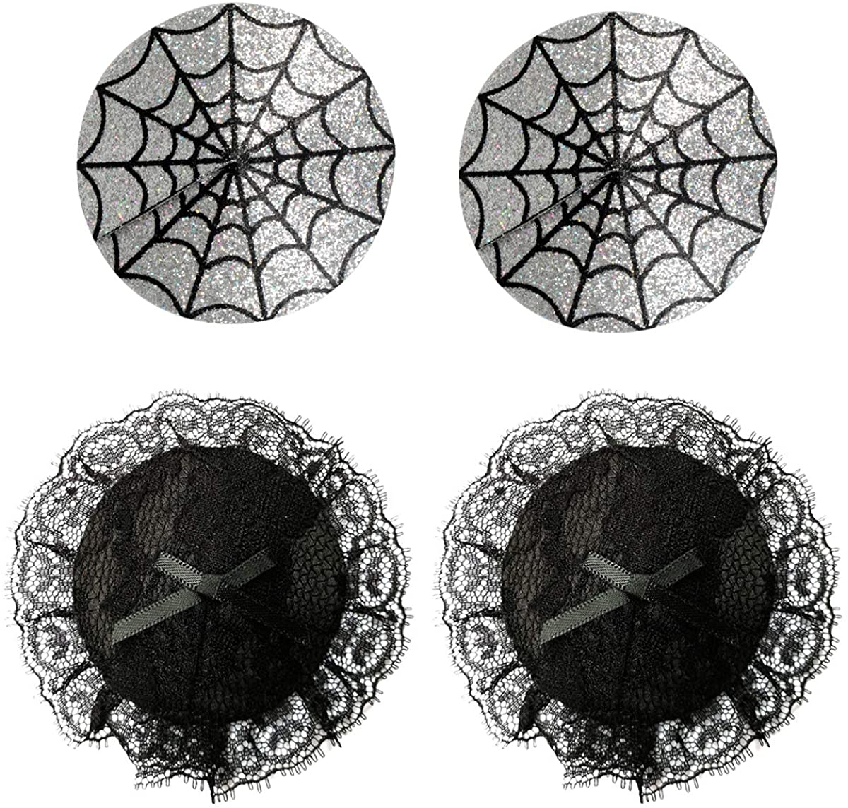 Ypser Halloween Reusable Breast Pasties Spider Ghost Accessories Adhesive Bra Nipple Covers for Women 2 Pairs