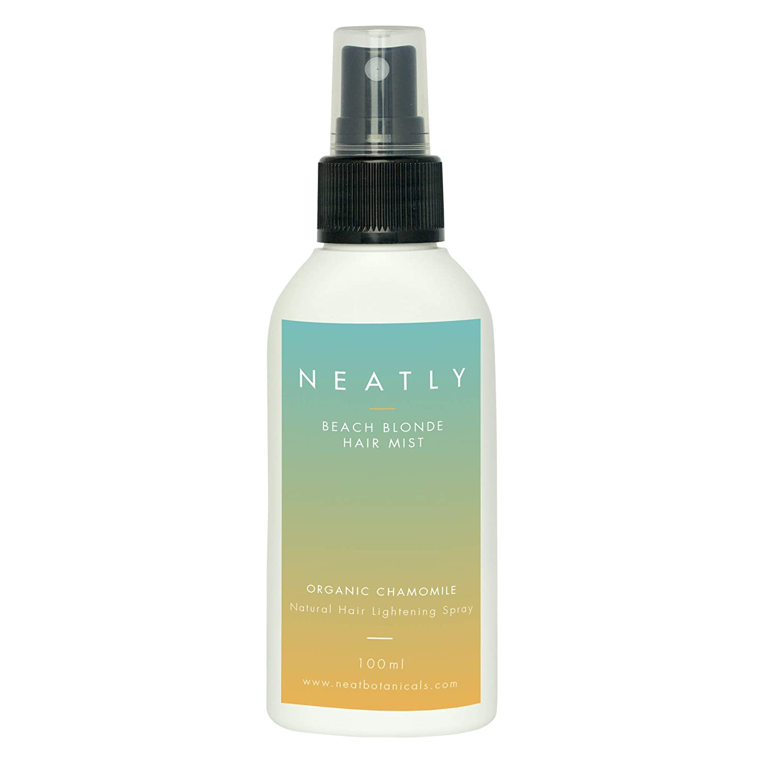 Beach Blonde Hair Mist by NEATLY   100 ml   Contains Chamomile Extract & Magnesium oil   Natural & Organic Hair Lightening Spray for a Blonde Beach look   For wet as well as dry hair