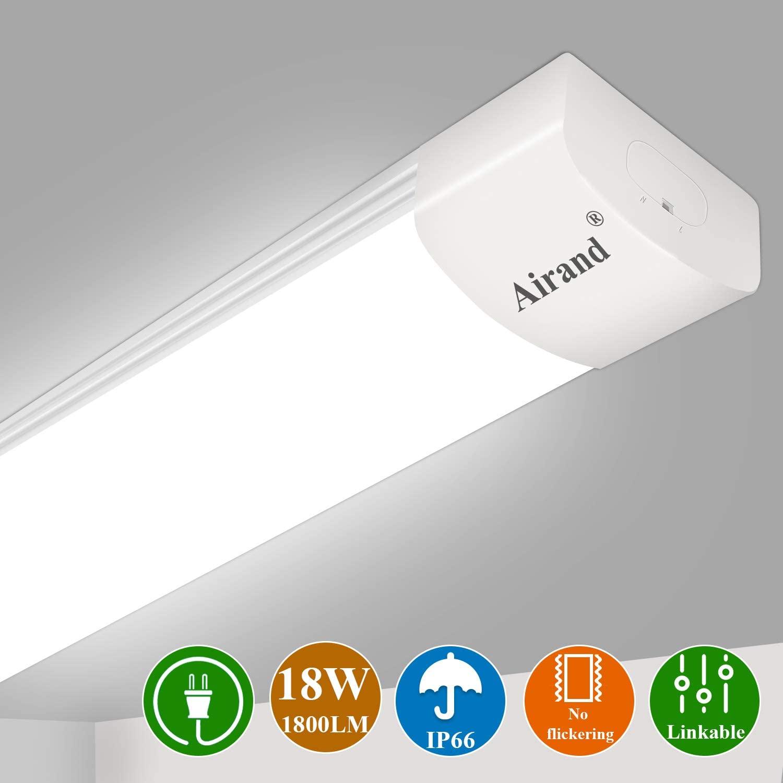 Airand 5000K LED Ceiling Light Fixture, 2FT IP66 Waterproof LED Tube Light, LED Garage Light for Bathroom, Kitchen, Corridor, Garage, Warehouse, Basement, Vanity and Office (Cool White)