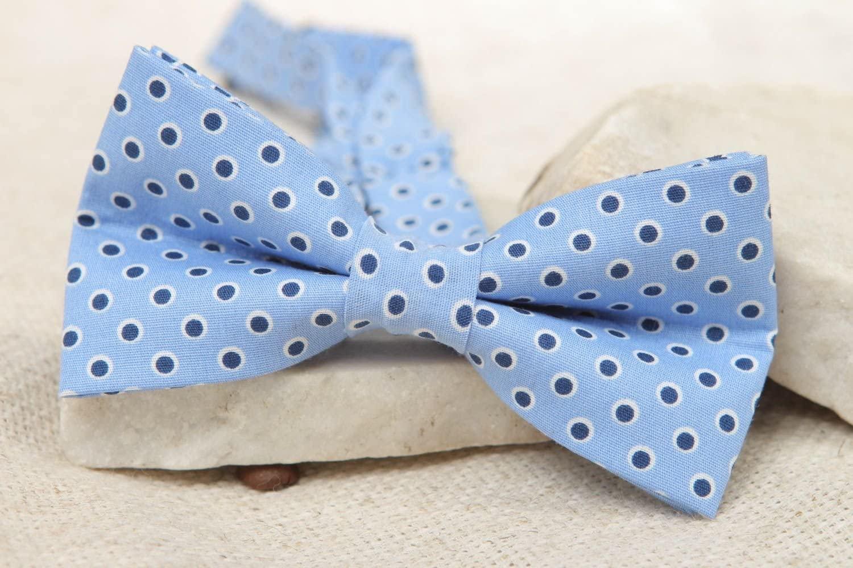 Blue Polka Dot Fabric Bow Tie