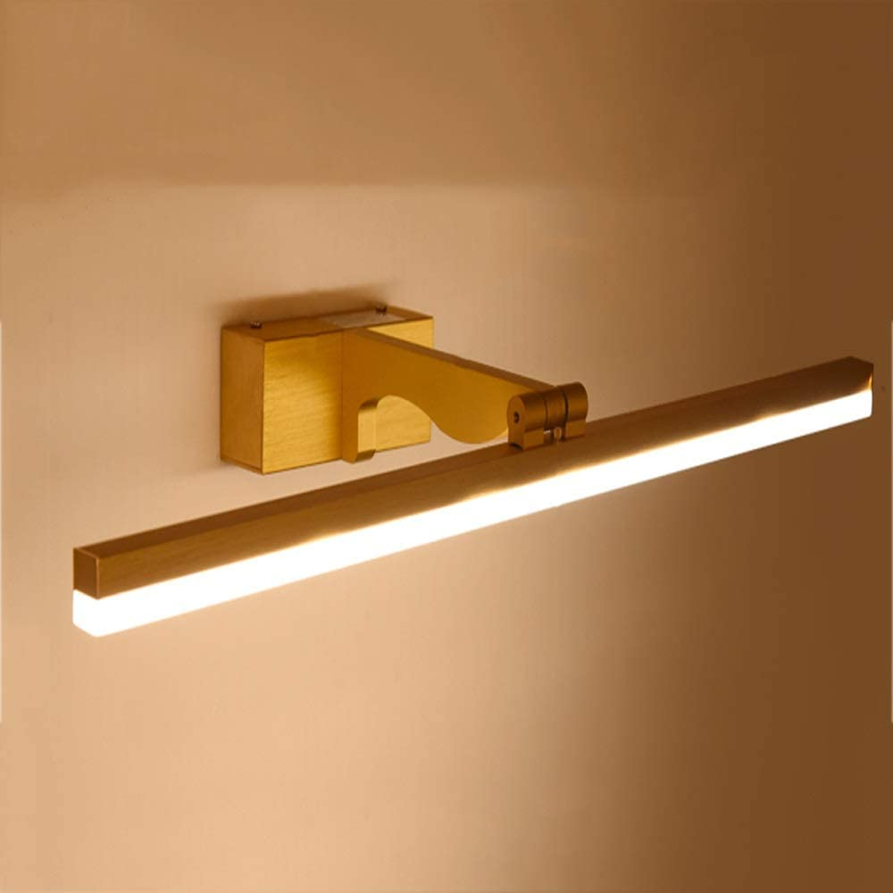 LED Mirror Headlights, Modern Waterproof Bathroom Lamp 10W Makeup Lamp Adjustable Aluminum Wall Lamp Golden Shaving Mirror Lamp (Color : Three-tone light, Size : 80cm)