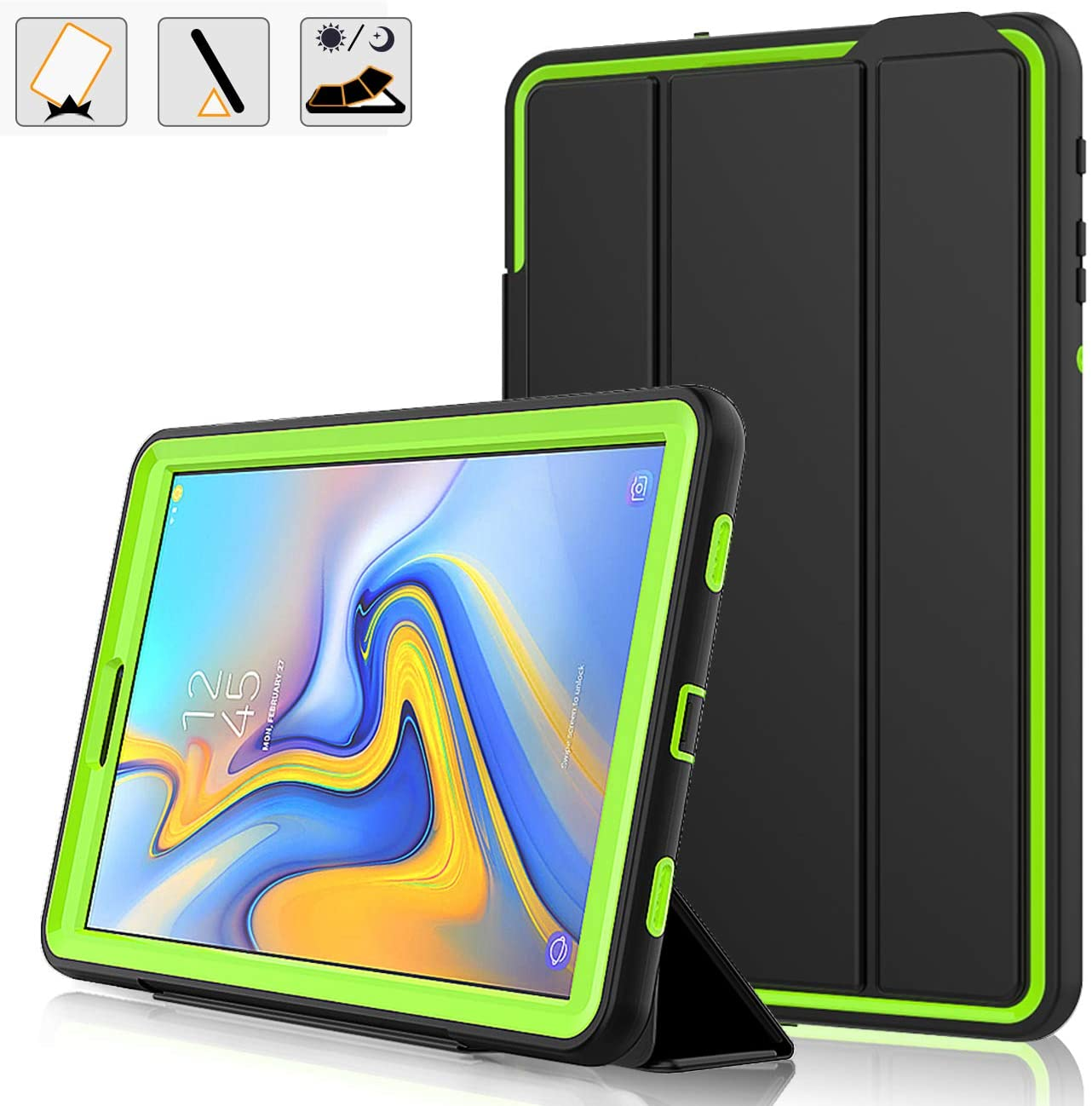 DAORANGE Case for Samsung Galaxy Tab A 10.5 2018 Model T590/T595, Smart Case [Detachable Cover] with Auto Sleep/Wake,Drop Protection Rugged Heavy Case for Galaxy Tab A 10.5 Inch 2018 (Black+Green)