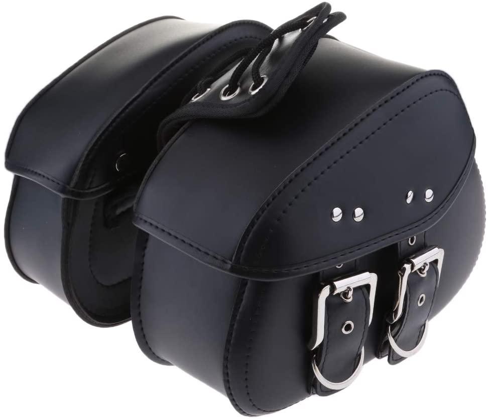 DLLL 1 Pair 2 Pcs Motorcycle Saddle Bag,Waterproof PU Leather Left Right Side Tools Bag Saddlebag for Harley Sportster Softail Honda Suzuki Yamaha Cruiser (Black) (Large:38x13x30cm, Black)