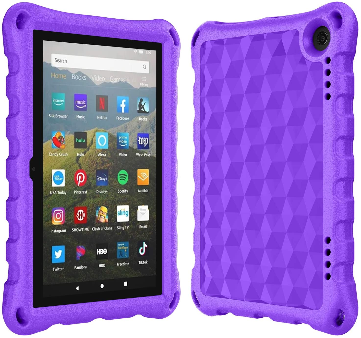"""Case for All-New 8 Inch Tablet 2020, 8"""" H D Display 2020 Release 10th Generation, Ubearkk Light Weight Anti-Slip Shockproof Kids Friendly Protective Case Cover(Purple)"""