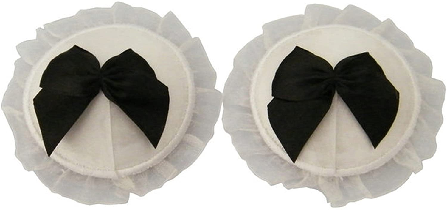 TX-Originality Lace Pasties White Reusable Nipple Sticker with Bow-tie