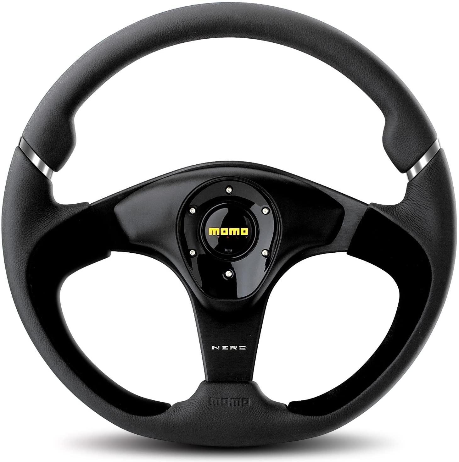 MOMO NER35BK0B Nero 350 mm Leather Steering Wheel