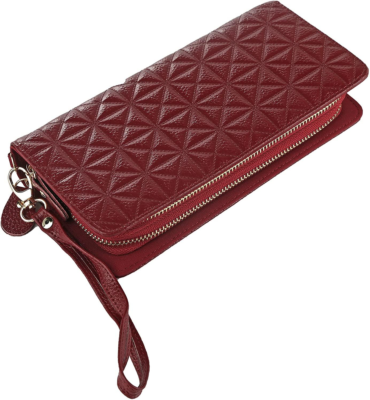 Women's Genuine Leather Clutch Wristlet Wallet Marilyn Ladies Double Zipper Card Holder Organizer by Mia K. Collection