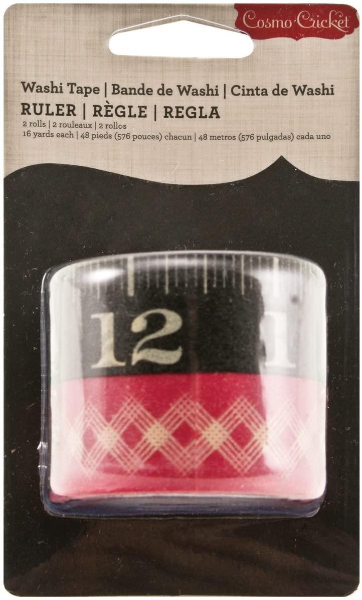 Advantus COS68059 Cosmo Cricket Washi Tape, Ruler Pattern, 2 Rolls Designer Adhesive Tape Rolls