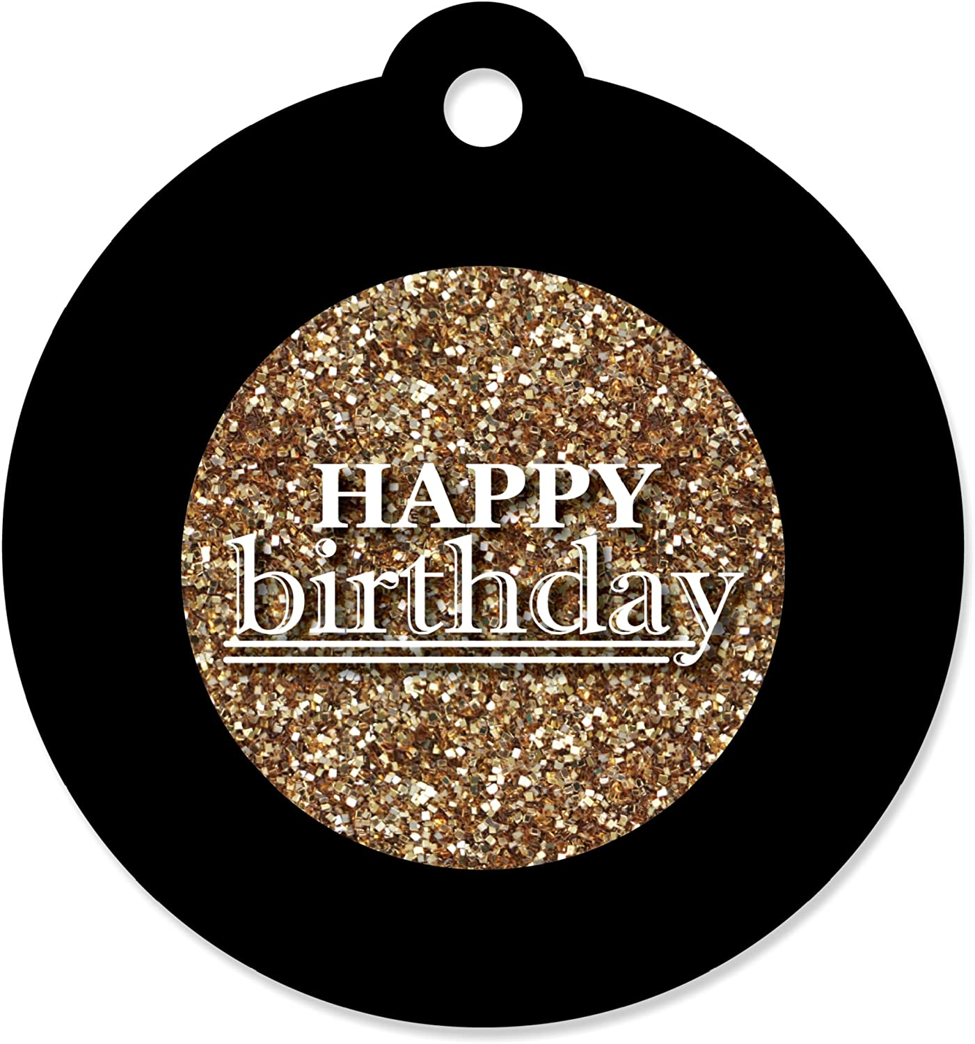 Adult Happy Birthday - Gold - Birthday Party Favor Gift Tags (Set of 20)