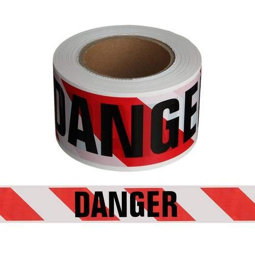 Harris Industries, Inc. BT-33-500-4mil 3in x 500ft Danger on Red and White Striped Barricade Tape