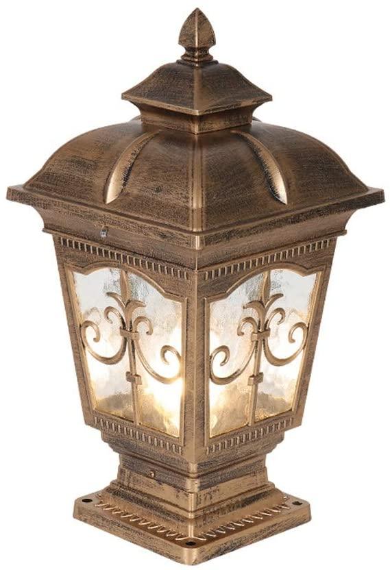 WHYA Vintage Outdoor Garden Light Exterior Post Lantern Traditional Retro E27 Fence Column Lamp Classical Landscape Street Light Antirust Waterproof Door Pillar Lights Lawn Lamps