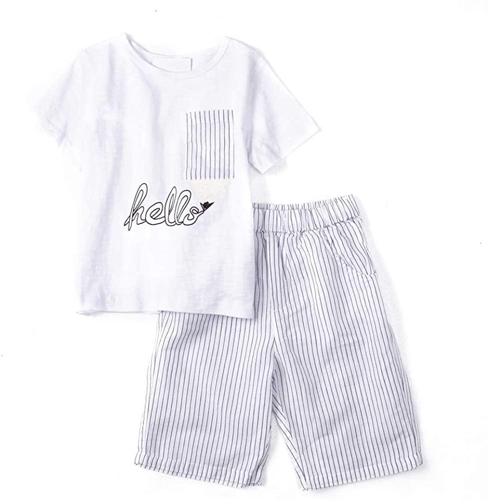Toddler Boy's Short Sleeves T-Shirt Tops and Shorts 2pcs Outfits Sets