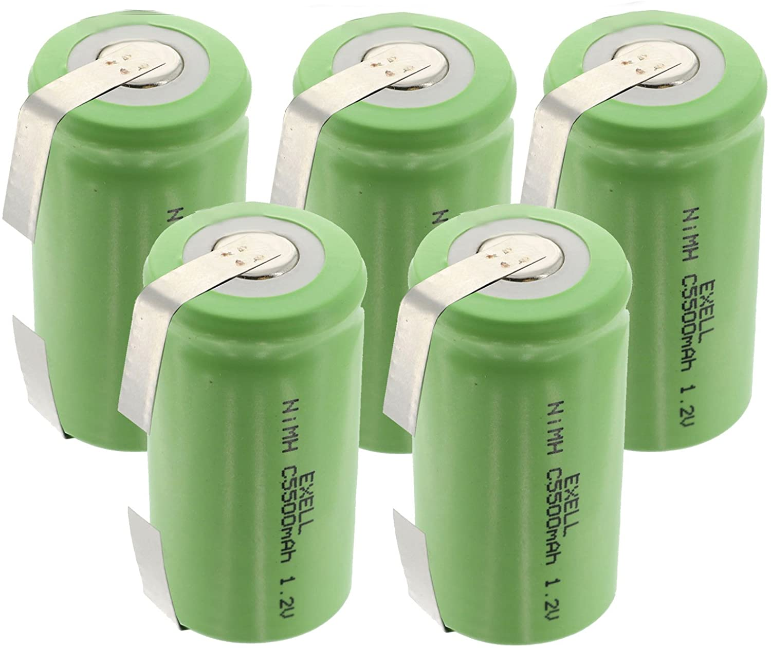 5x Exell 1.2V 5000mAh NiMH C Size Rechargeable Batteries w/Tabs use with electric razors toothbrushes high power static applications (Telecoms UPS and Smart grid) electric tools electric mopeds