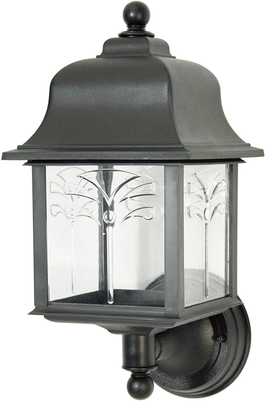 Sunlite 47224-SU DOD/ORU/BK/CL/MED Decorative Outdoor Orchid Up Polycarbonate Fixture, Black Finish, Clear Lens