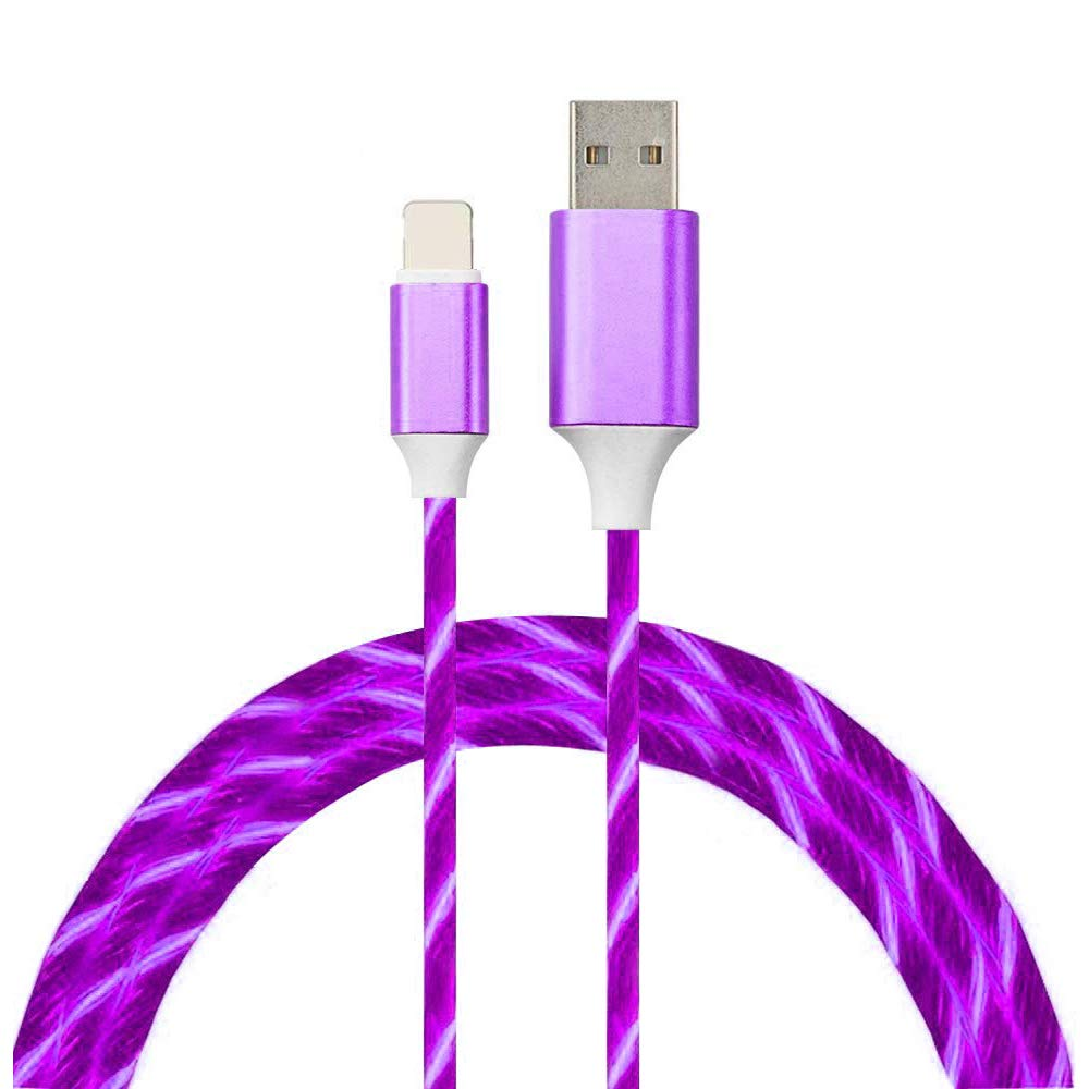 LED Charge Cable 6.6FT,Lighting Changer Cable Purple Change LED Visible Flowing USB Charger Cord for Phone 11/X/8/8 Plus/7/7 Plus, 6/6s/6 plus/6s Plus, 5/5s/5c, Pad,Pod Touch. (Purple)