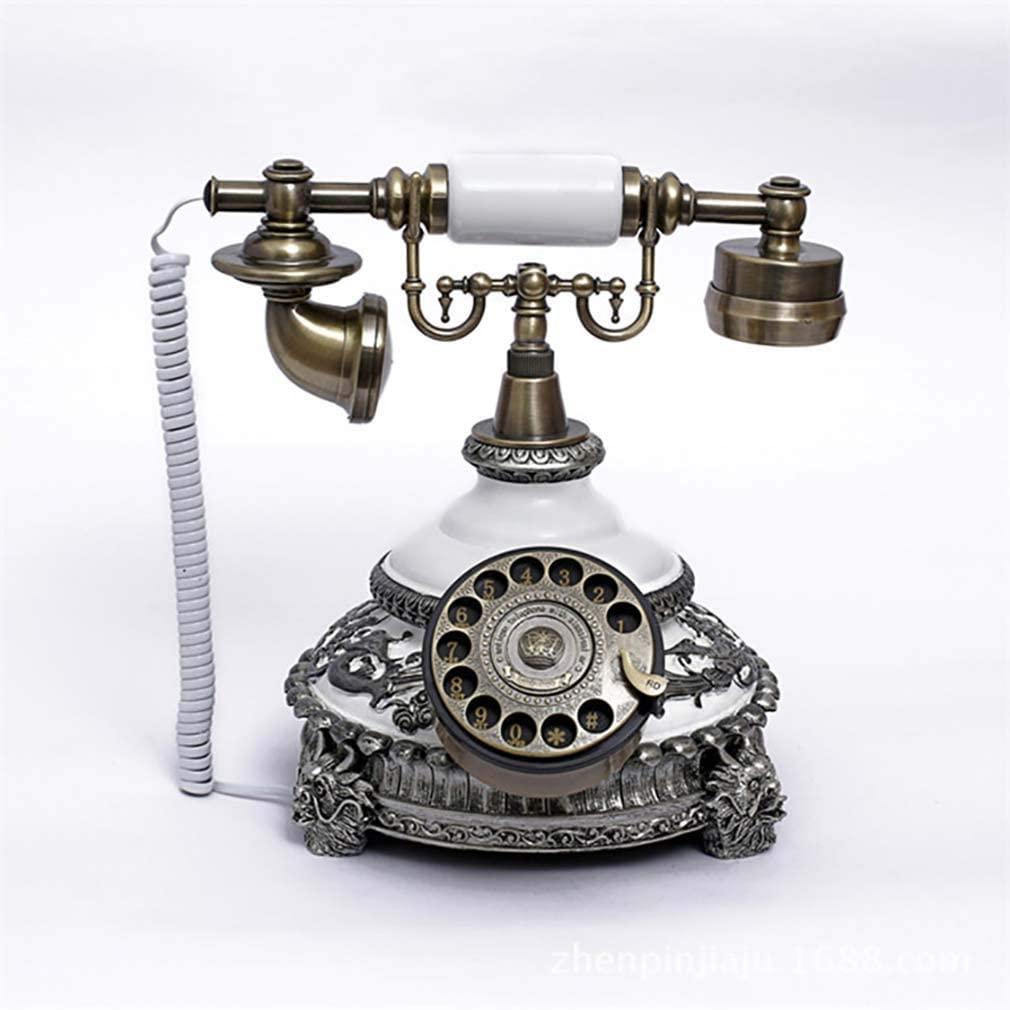 ZJUAN Creativity Corded Landline,Resin Classic Rotary Dial Telephone,Speaker Extra Loud Ringer Comfortable Call Vintage Retro Telephone 25x25x26cm(10x10x10inch)