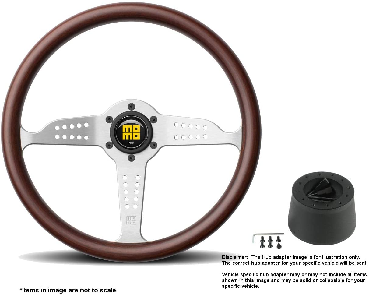 MOMO Grand Prix 350mm (13.78 Inches) Wood Steering Wheel w/Brushed Aluminum Spokes and Crowder's Hub Adapter for Fiat 124 Part # GRA35WD0B + 509