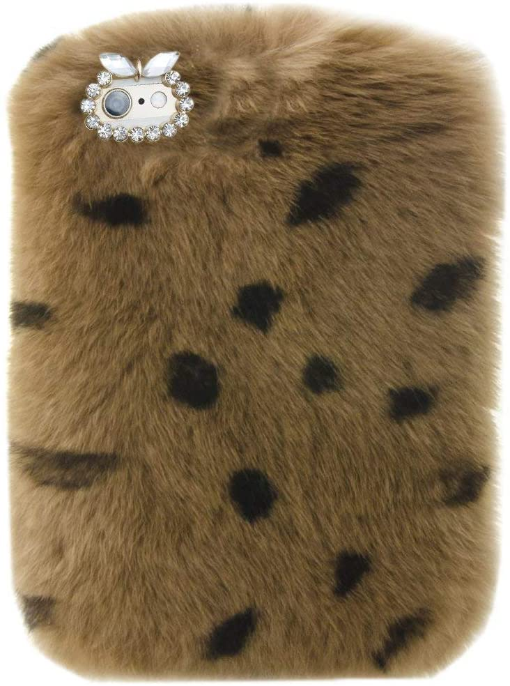 for Galaxy Tab A 8 2019 Tablet Cover,Bling Rhinestone Fuzzy Faux Rabbit Furry Fluffy Beaver Rex Rabbit Fur Protective Case for Samsung Galaxy Tab A 8.0 2019 (SM-T290/SM-T295/SM-T297 Model)(Leopard)