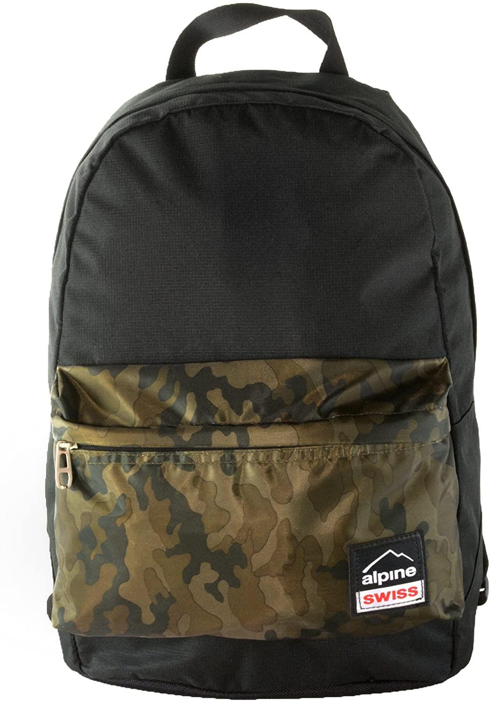 Alpine Swiss Midterm Backpack School Bag Bookbag 1 Yr Warranty Black Camo
