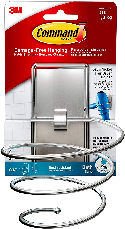 Command Hair Dryer Holder, Satin Nickel, 1-Hair Dryer Holder, 2-Large Water-Resistant Strips (BATH39-SN-ES), Organize your dorm