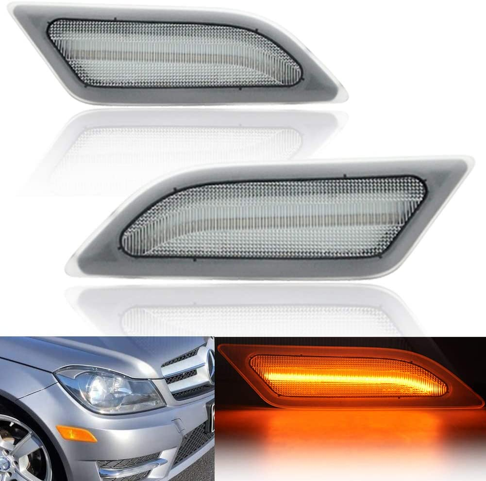Clear Lens Amber Yellow Full LED Front Side Marker Light Kit for 2012 2013 2014 Mercedes Benz Pre-LCI W204 LCI C250 C300 C350 C63 AMG Coupe Base Sedan 3-Door OEM Side Marker Lamps Replacement