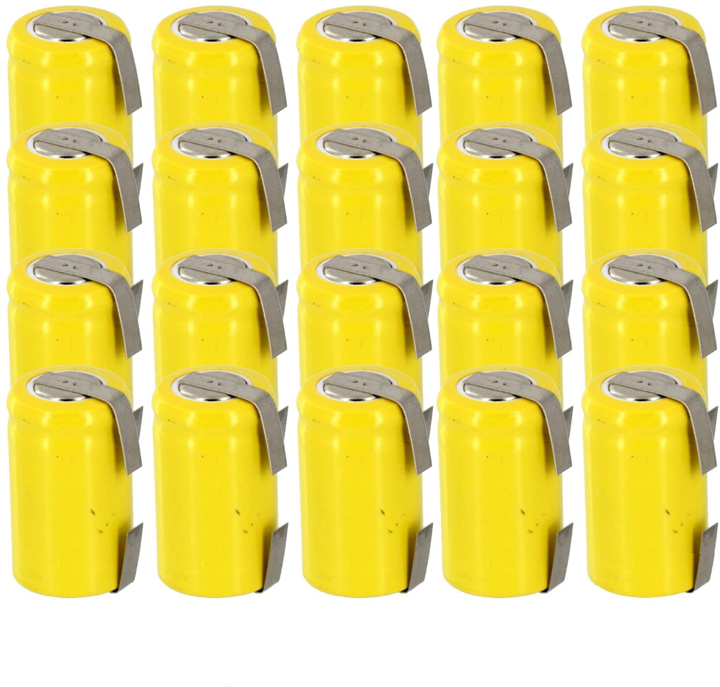 20x Exell 1/2AA NiCD 300mAh 1.2V Flat top Rechargeable Battery with Tabs