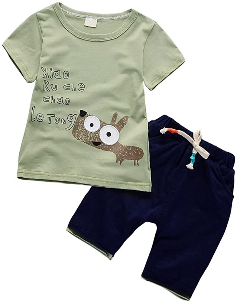 Loveble Boys Fashion 2Pcs Sets Summer Cute Cartoon Animal Pattern Short Sleeve T-Shirt+Shorts Trousers Clothes Set