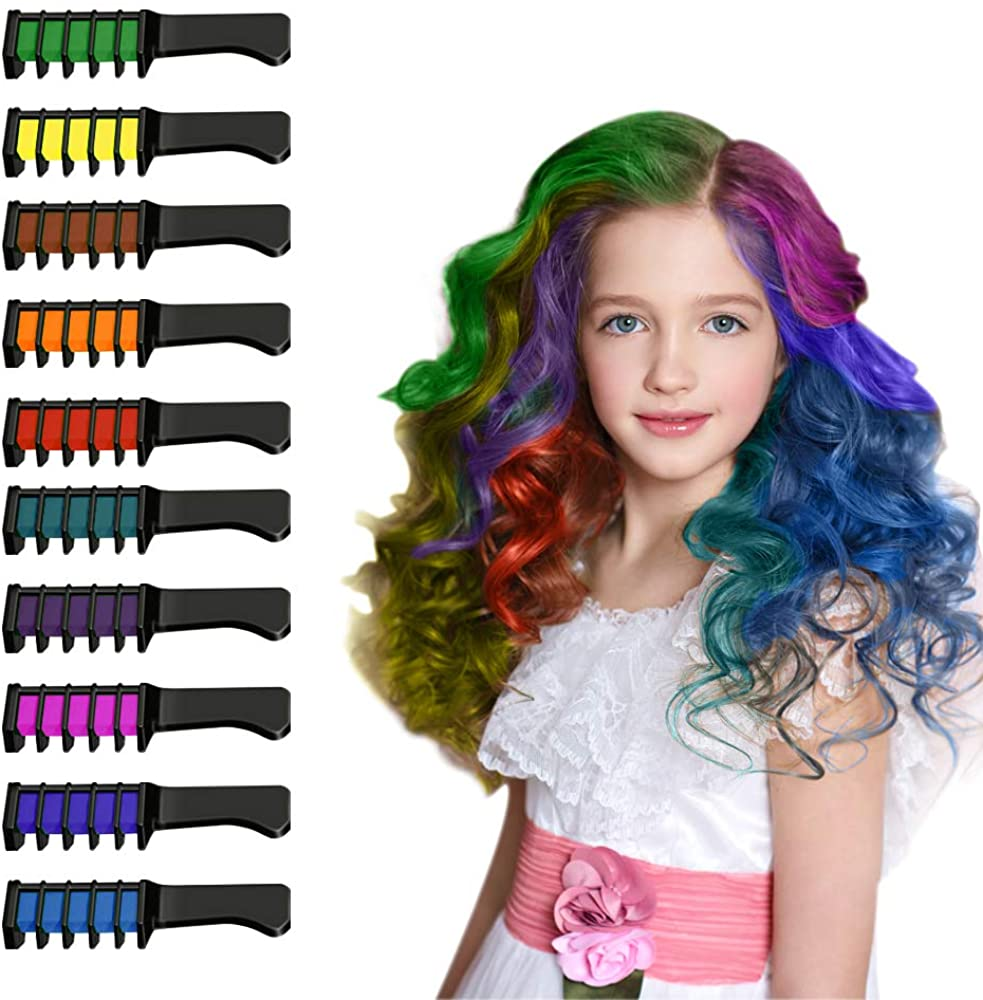 Snoky 10 Colors Hair Chalk Set for Girls Kids Hair Chalk Comb for Temporary Bright Hair Color Gifts