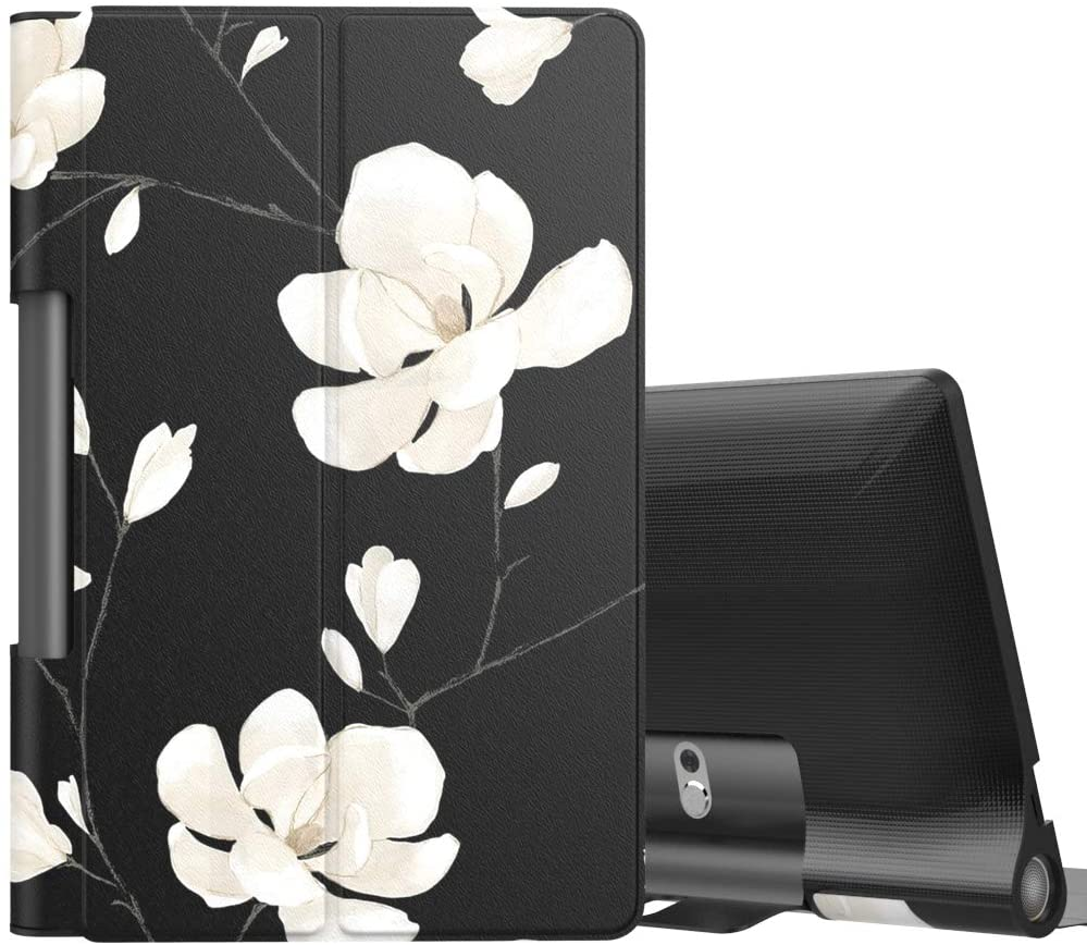 MoKo Case Fit Lenovo Yoga Smart Tab 10.1(YT-X705F), Ultra Lightweight Slim Smart Shell Stand Cover Case for Lenovo Yoga Smart Tab 10.1(YT-X705F) Tablet - Black & White Magnolia