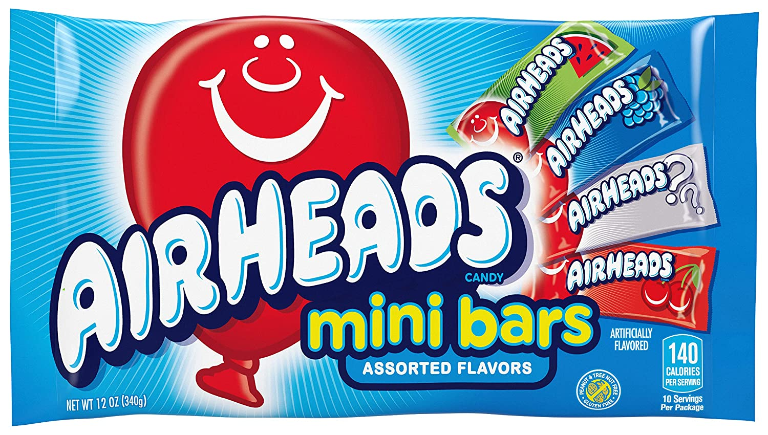 AirHeads Candy Variety Bag, Individually Wrapped Assorted Fruit Mini Bars, Party, Non Melting, 12 Ounces